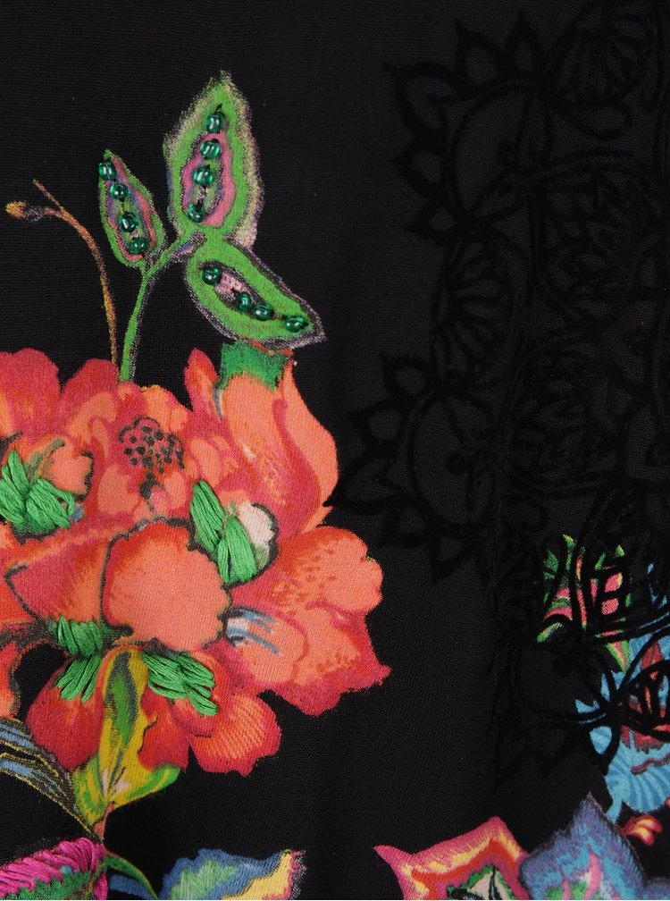 Bluza neagra lunga cu print floral și mărgele Desigual Amona