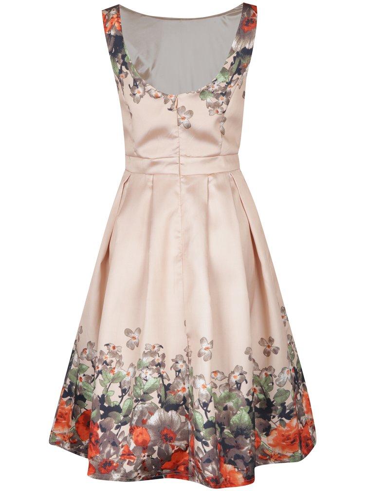 Béžové šaty s potiskem květin Mela London