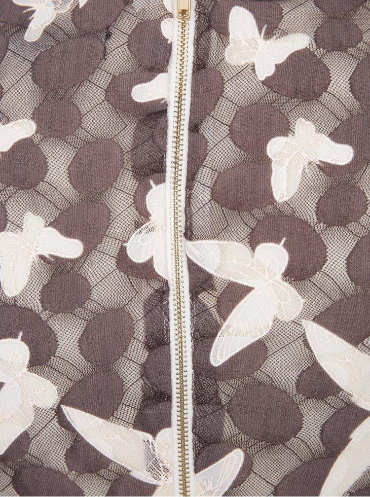 Krémovo-hnědé minišaty s motivem motýlů Mela London