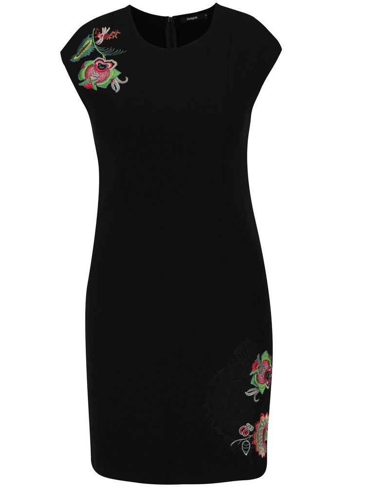 Rochie neagra tubulara cu print floral discret Desigual Brendan