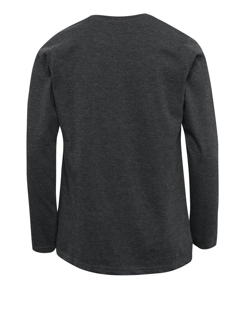 Tmavě šedé žíhané klučičí triko s potiskem Blue Seven
