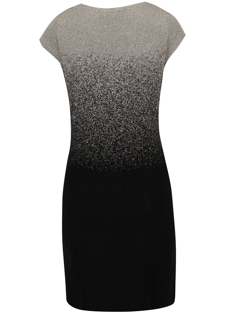 Černé svetrové šaty s žíháním ve zlaté barvě Desigual Heather