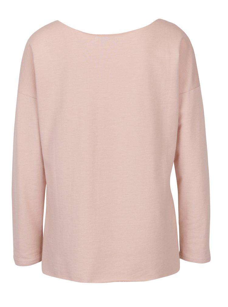 Bluză roz cu broderie și mâneci lungi Haily´s Rosy
