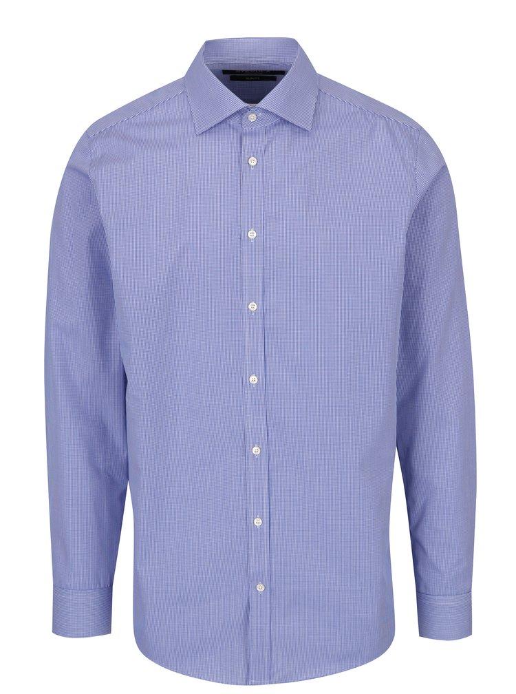 Modrá pánská slim fit košile s jemným vzorem STEVULA