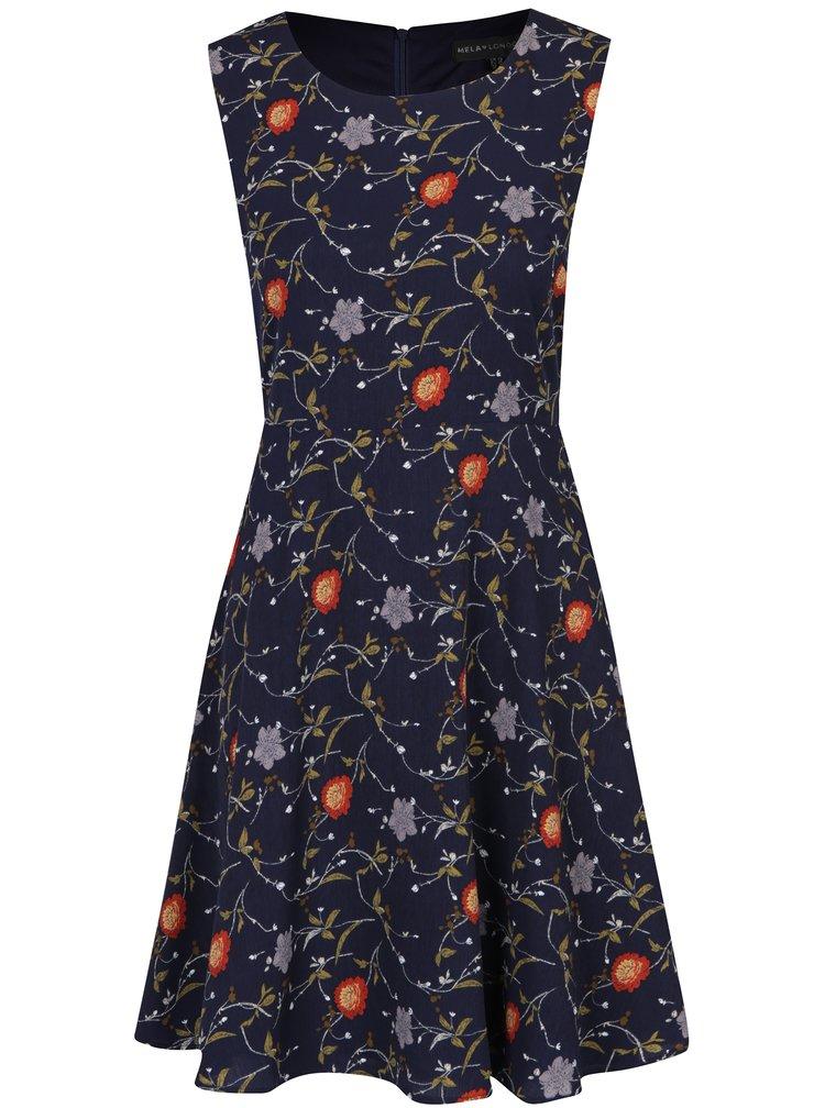 Rochie în A bleumarin cu imprimeu floral -  Mela London