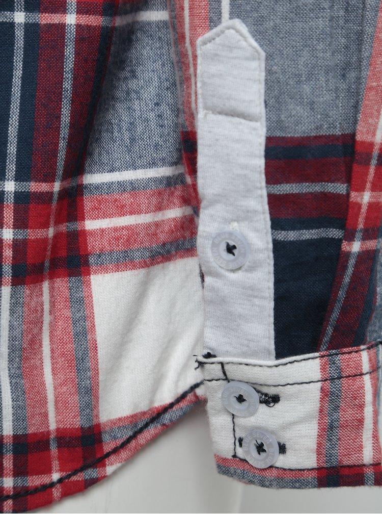Červeno-modrá klučičí kostkovaná košile s potiskem Blue Seven