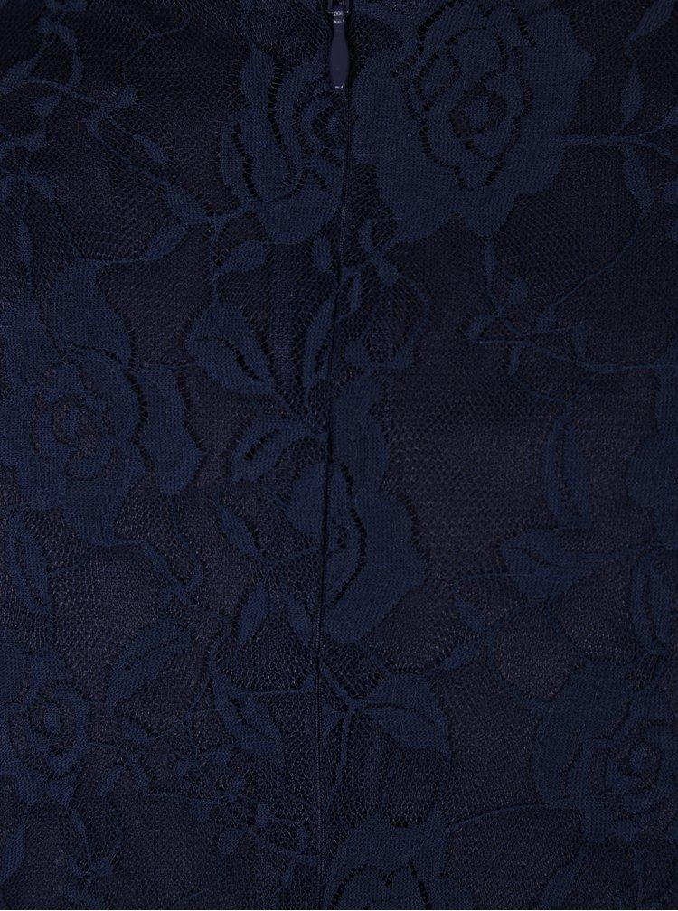 Tmavě modré krajkové šaty s dlouhým rukávem Mela London