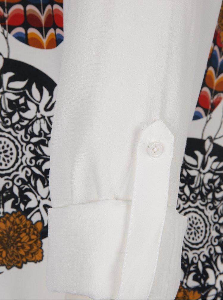 Krémová košile s dlouhým rukávem a potiskem Desigual Inmaculada
