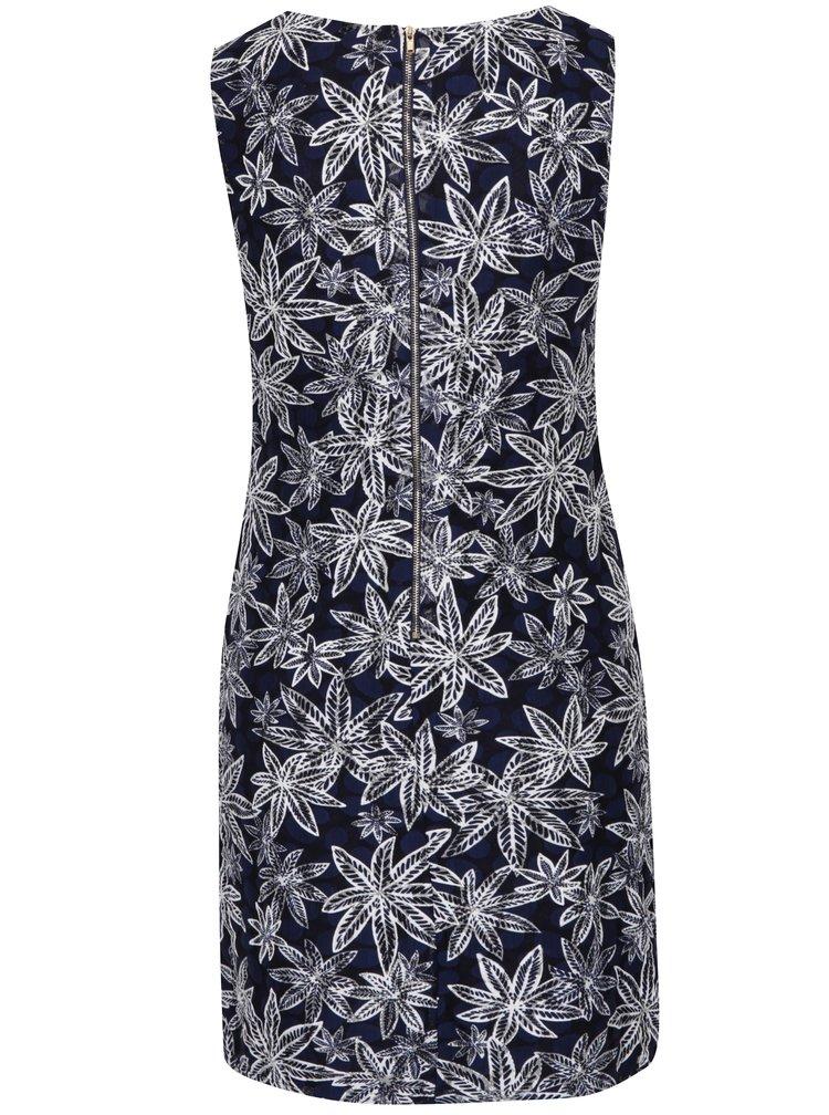 Krémovo-modré šaty s motivem listů Mela London