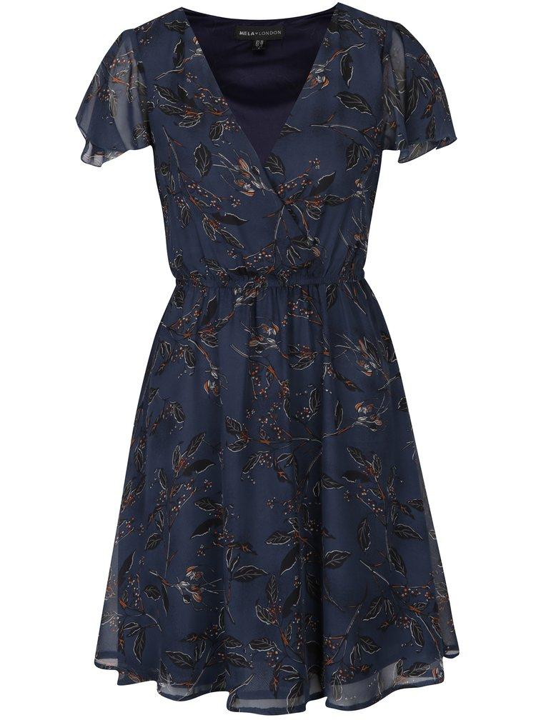 Tmavě modré šaty s volány na ramenou Mela London