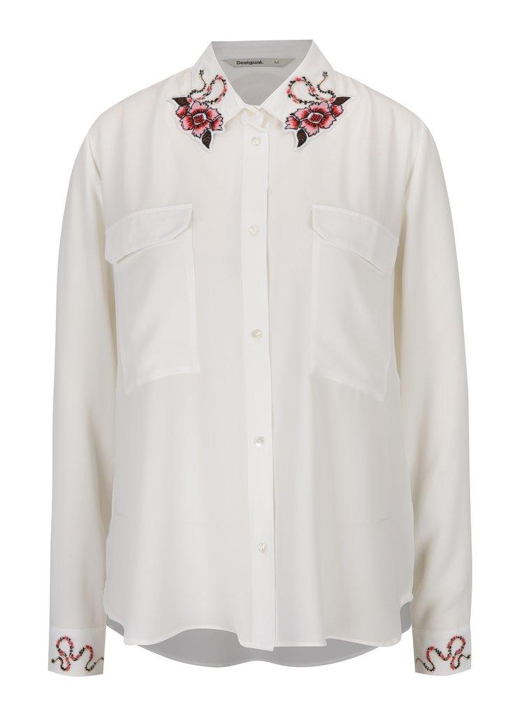 Krémová košile s výšivkami na límečku a rukávech Desigual Melancolia