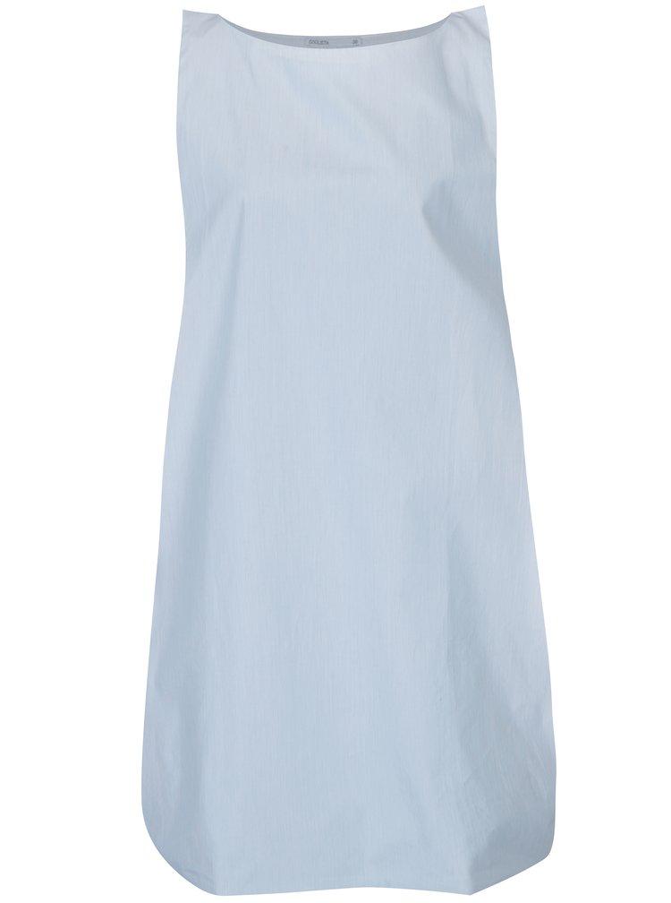 Světle modré rovné šaty bez rukávů Soolista