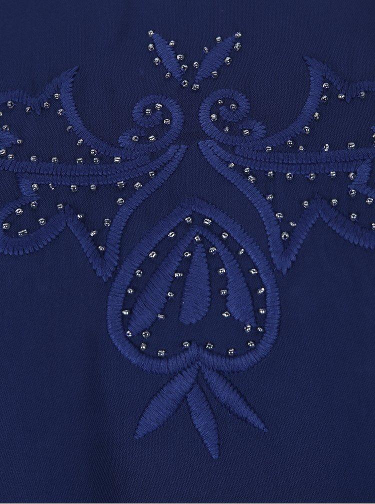Modrá halenka s výšivkami a volány Desigual Mimosa