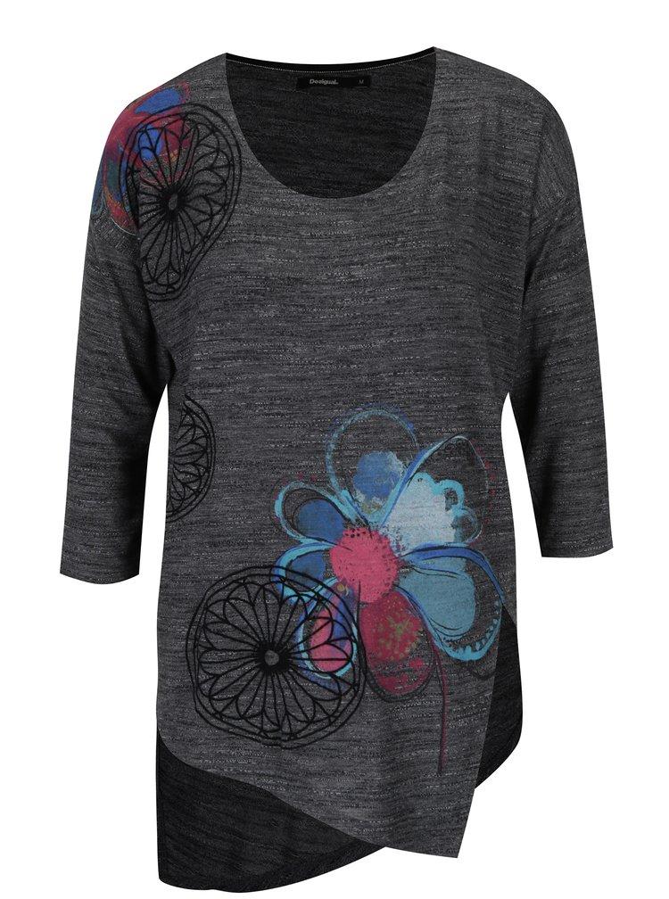 Bluză gri melanj cu flori și model asimetric Desigual Elqui