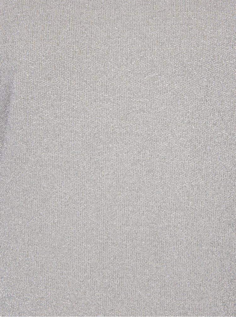 Sivý dámsky dlhý hodvábny top s trblietkami Soolista