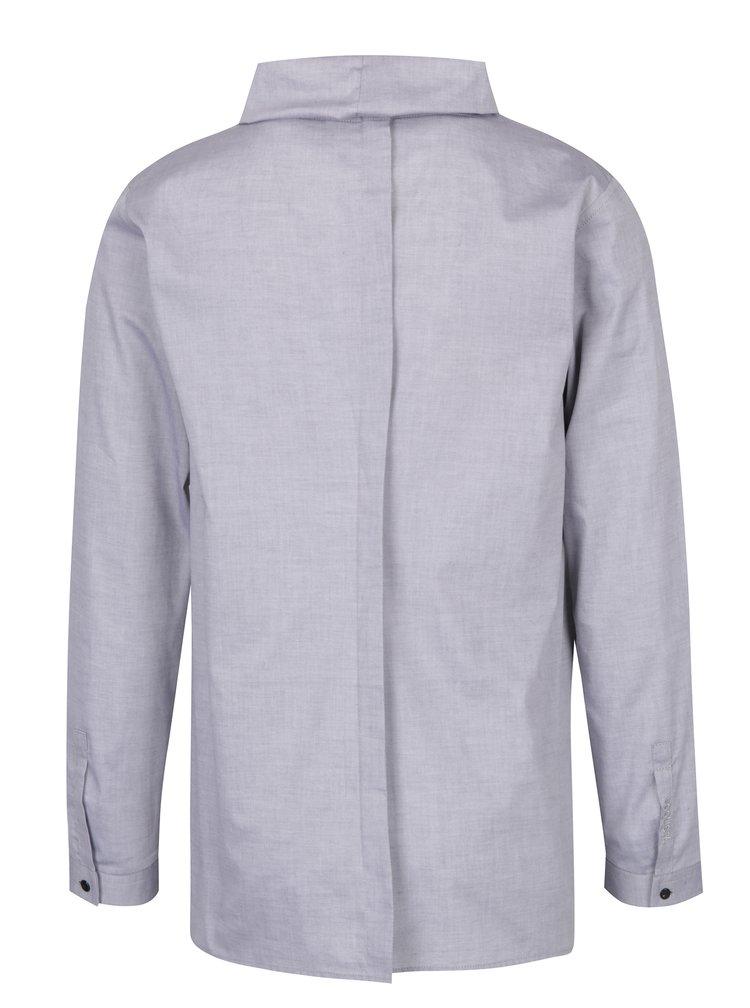 Šedá pánská košile vysokým límcem bez zapínání Soolista