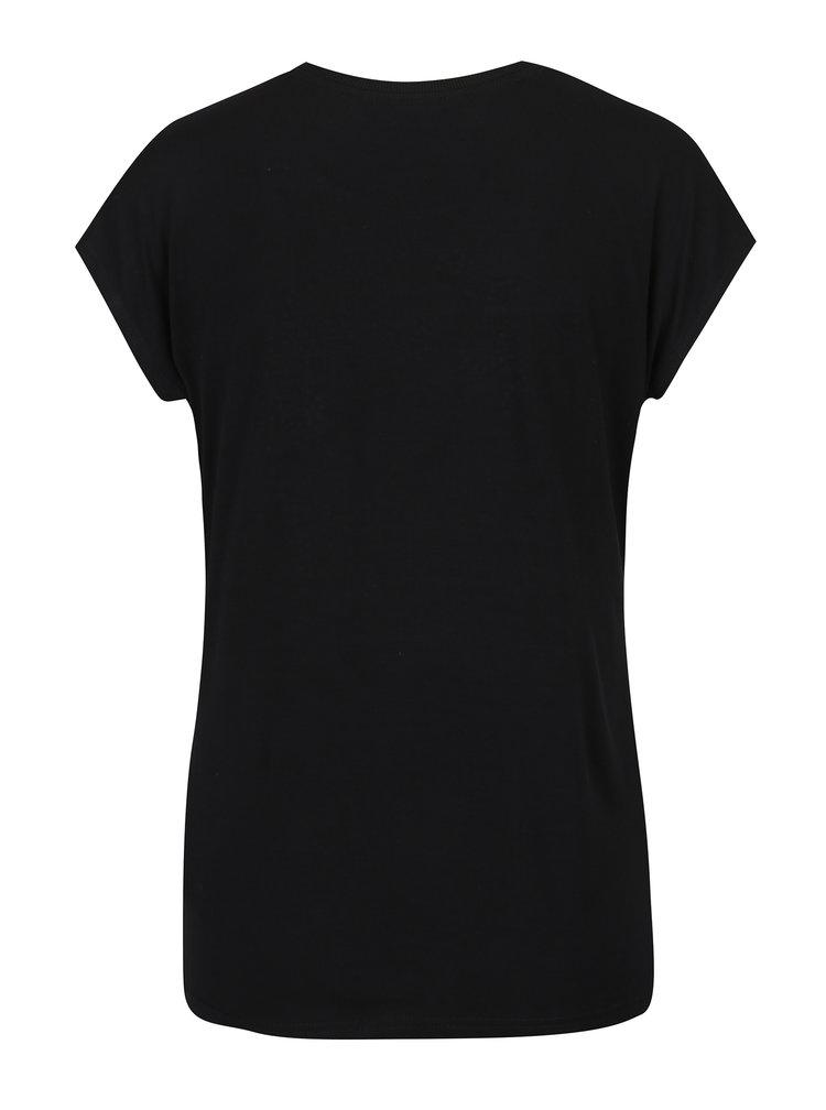 Černé tričko s kamínkovou aplikací ve tvaru motýlů Desigual Coral