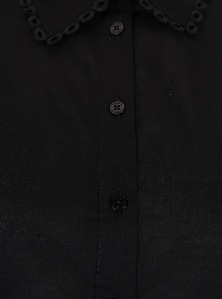 Cămașă neagră cu mâneci de plasă Desigual Florinda