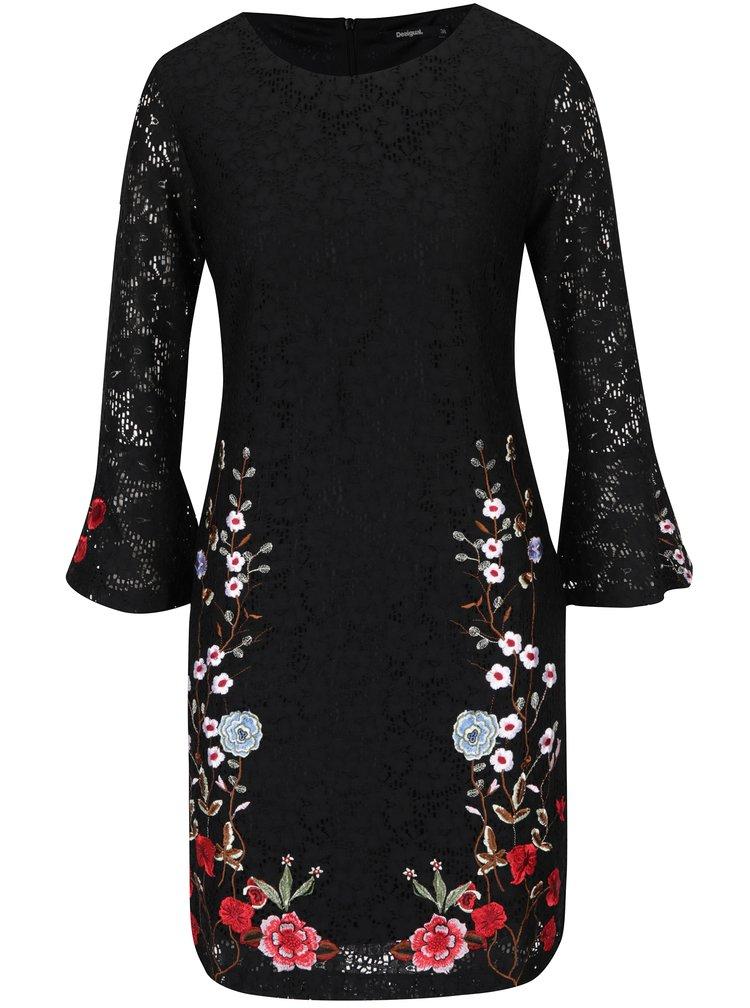 Černé krajkové šaty se zvonovými rukávy a výšivkami Desigual Vermond