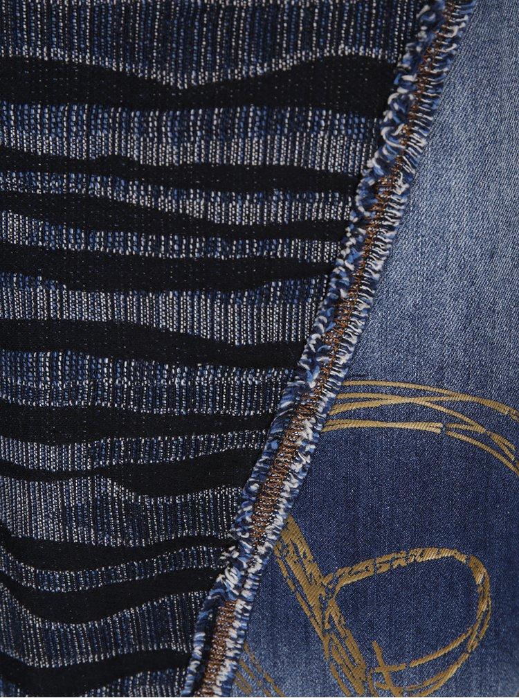 Modré vzorované šaty s džínovými detaily Desigual Luna