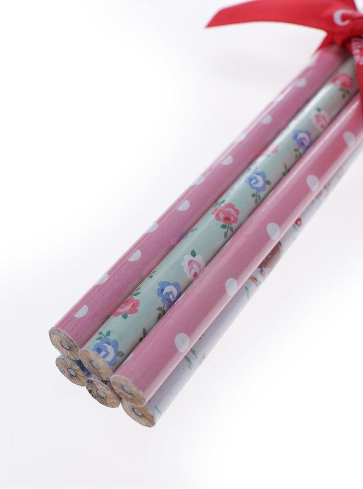 Sada šesti vzorovaných tužek v růžové, zelené a bílé barvě Cath Kidston