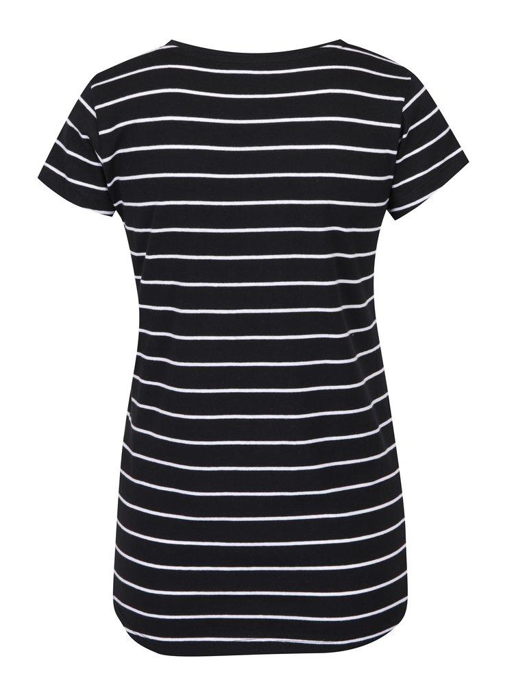 Tricou negru cu dungi albe din bumbac Haily´s Tari