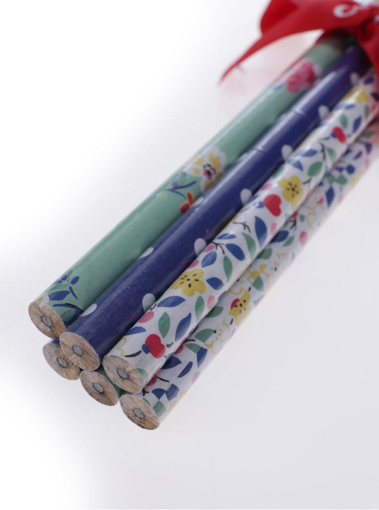 Sada šesti vzorovaných tužek v zelené, modré a bílé barvě Cath Kidston