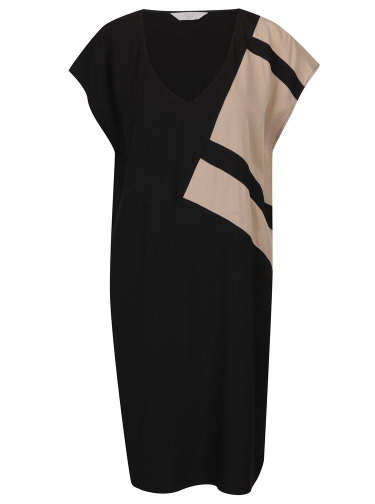 Béžovo-černé volné šaty s véčkovým výstřihem YAYA