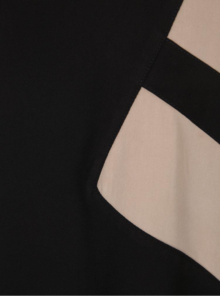 Béžovo-černá volná halenka s véčkovým výstřihem YAYA