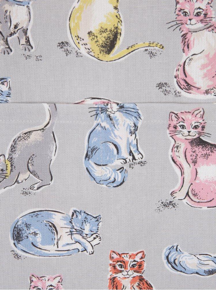 Světle šedá zástěra s motivem koček Cath Kidston