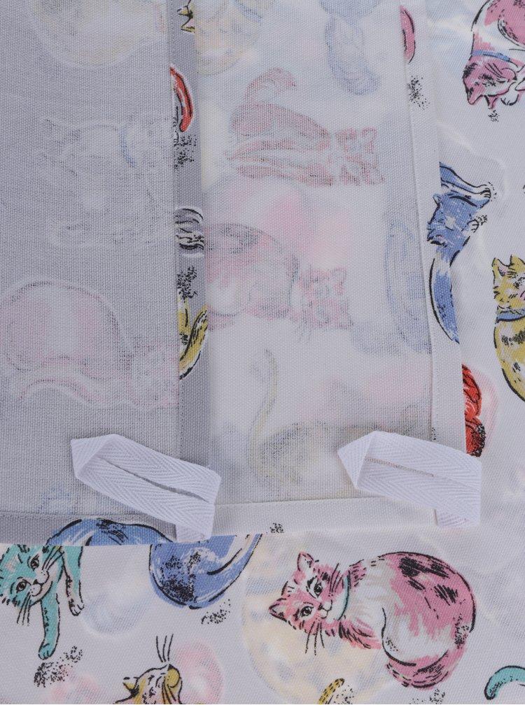 Súprava dvoch krémovo-sivých utierok s motívom mačiek Cath Kidston