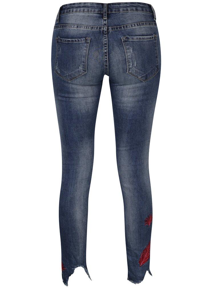 Modré regural džíny s výšivkou Haily´s Mara