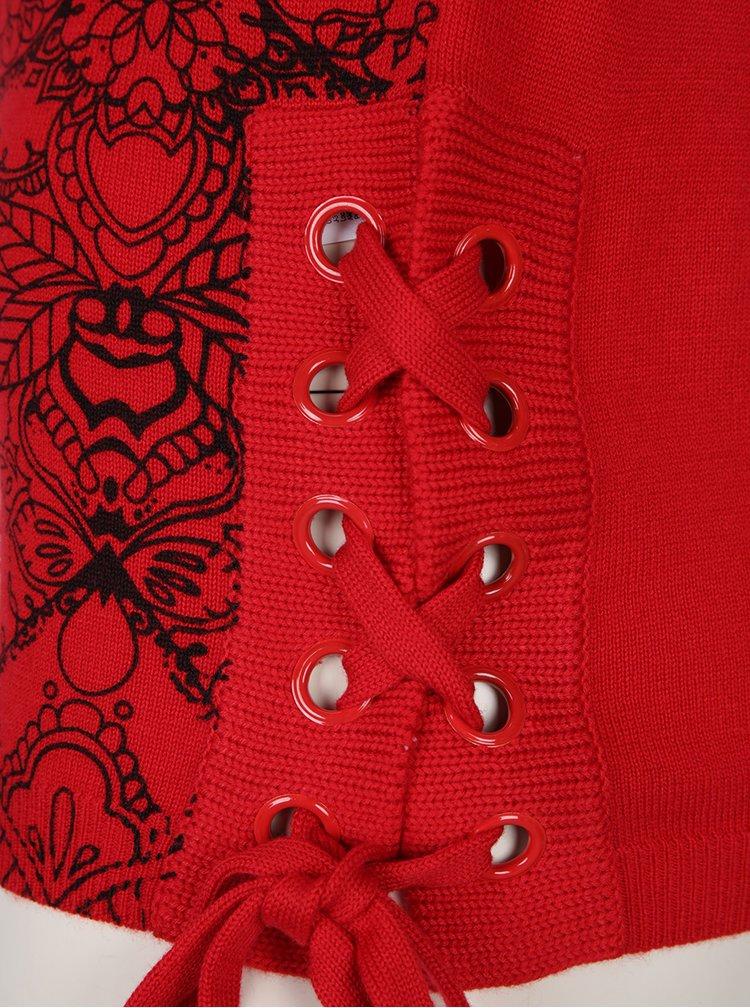 Červený svetr s příměsí vlny a šněrováním na bocích Desigual Abraham