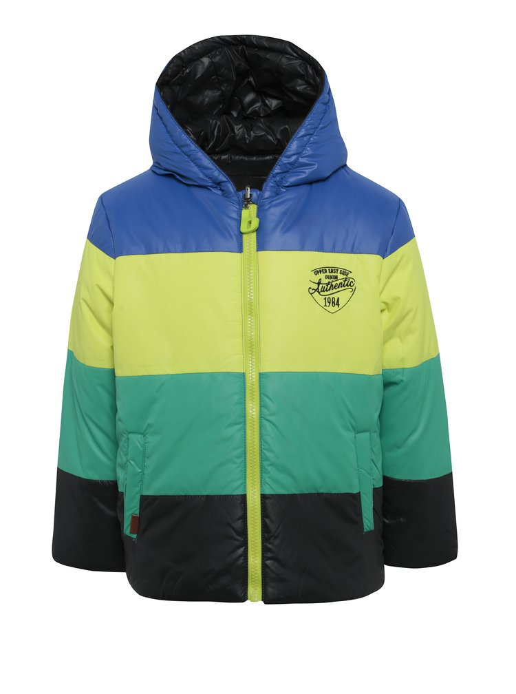 Obojstranná prešívaná chlapčenská bunda v čiernej, modrej, žltej a zelenej farbe BÓBOLI