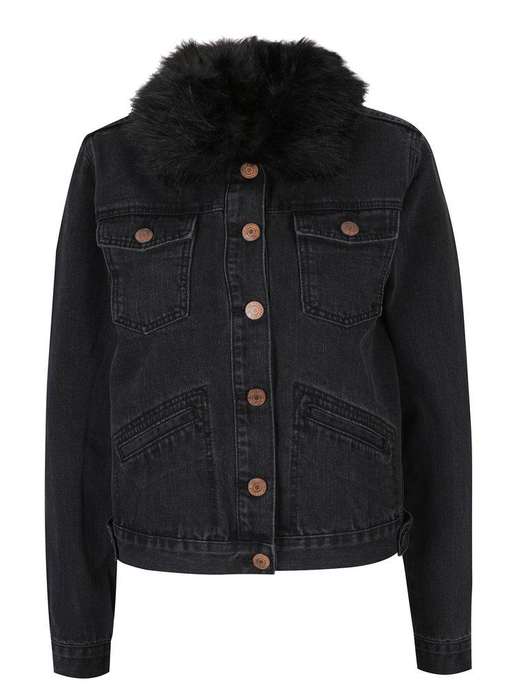 Jacheta neagra din denim cu guler detasabil Haily´s Leonie