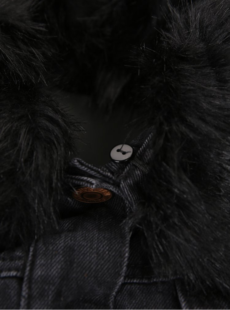 Černá džínová bunda s umělým kožíškem Haily´s Leonie