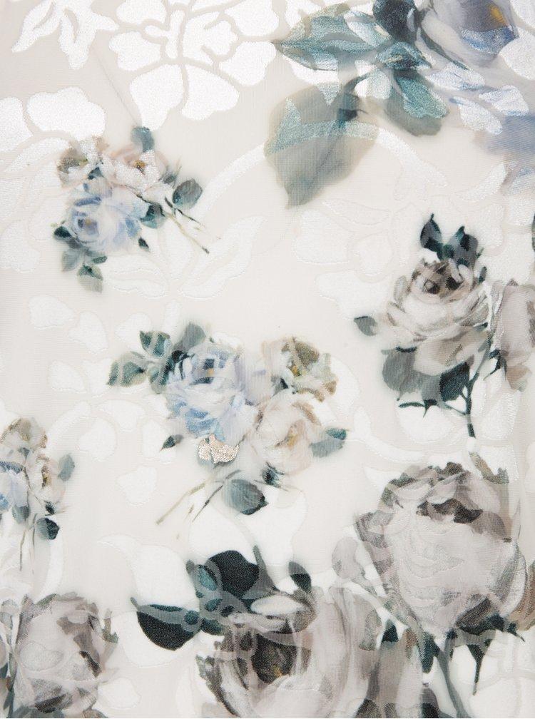 Pulover crem cu flori și garnitură aurie Desigual Mery