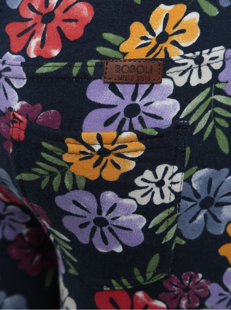 Tmavě modré holčičí květované kalhoty BÓBOLI