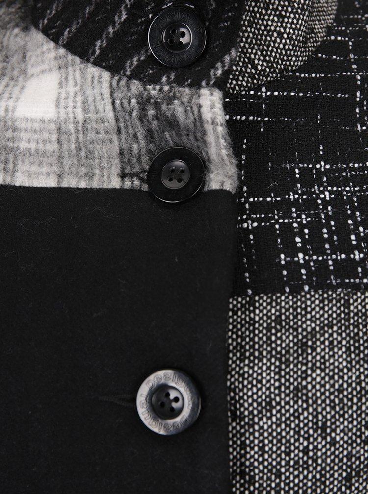 Šedo-černý vzorovaný kabát s příměsí vlny Desigual Rosita