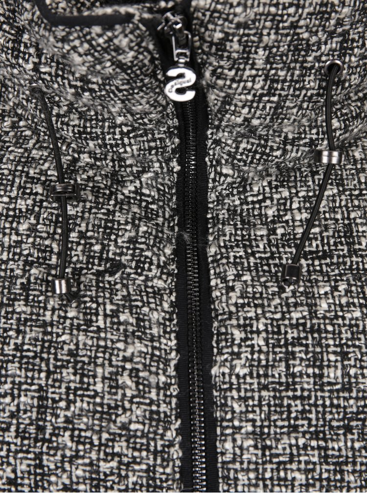 Čierna bunda s odopínateľnými svetrovými rukávmi a prímesou vlny Desigual Night