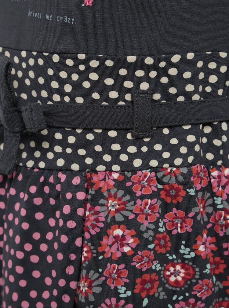 Růžovo-šedé holčičí šaty s potiskem a dlouhým rukávem BÓBOLI