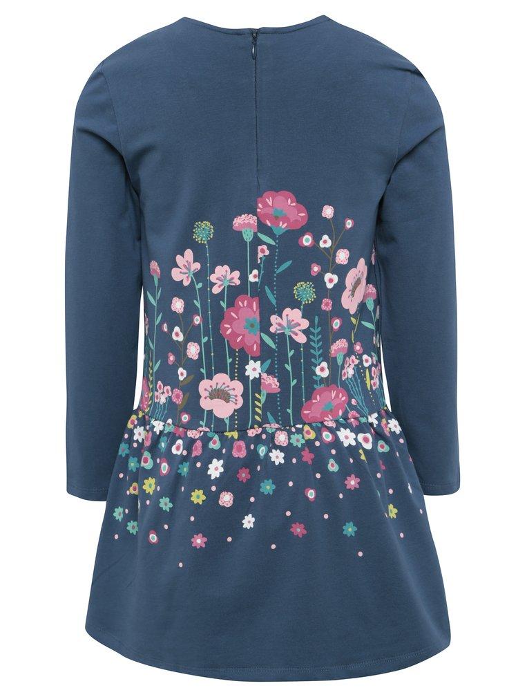 Modré dievčenské šaty s potlačou kvetín BÓBOLI