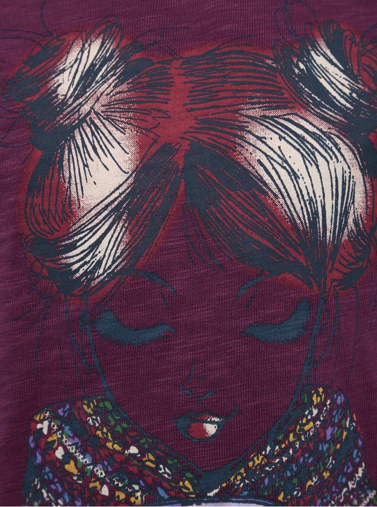 Fialové holčičí tričko s potiskem a dlouhým rukávem BÓBOLI