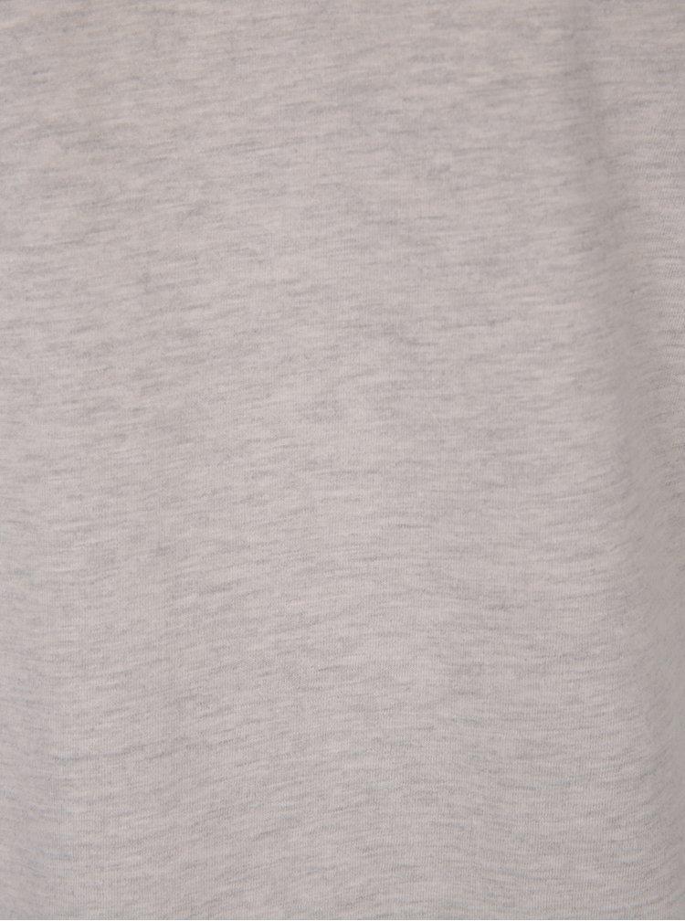 Béžové pánské žíhané basic tričko s véčkovým výstřihem Broadway Garet
