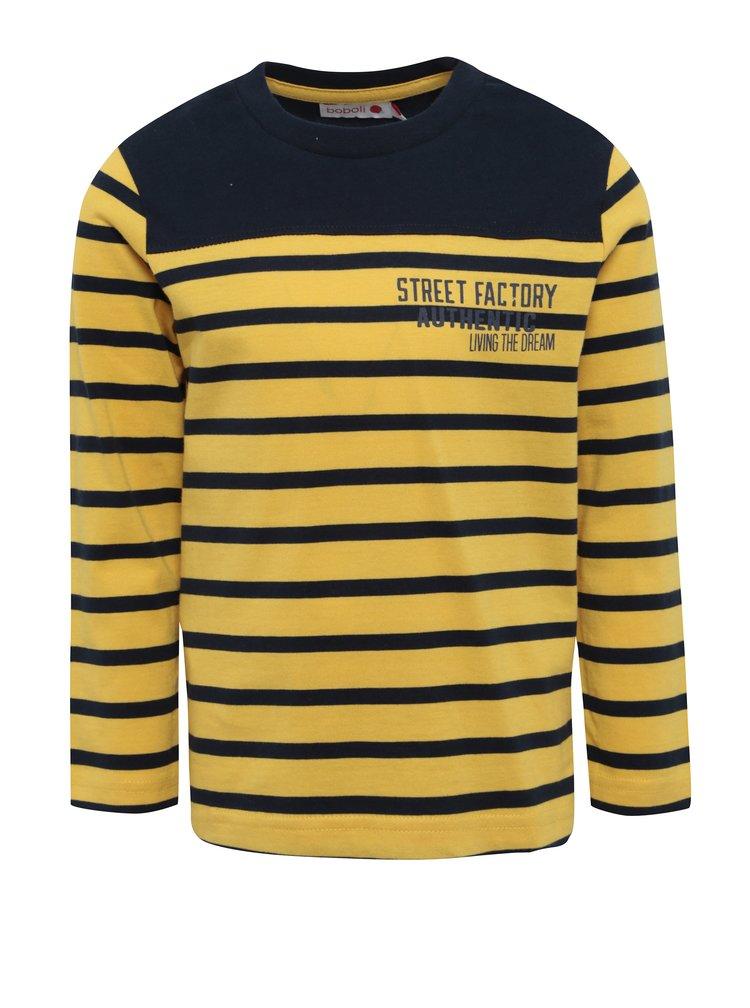 Modro-žluté klučičí pruhované tričko s dlouhým rukávem BÓBOLI