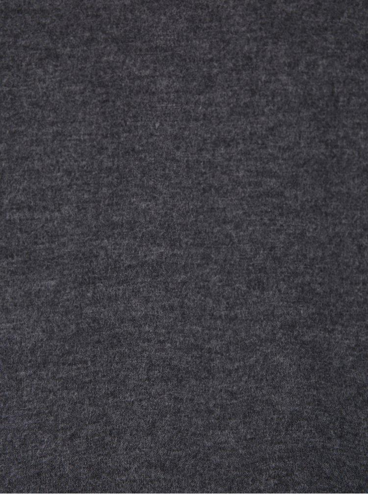 Tmavě šedé pánské žíhané basic tričko s véčkovým výstřihem Broadway Garet