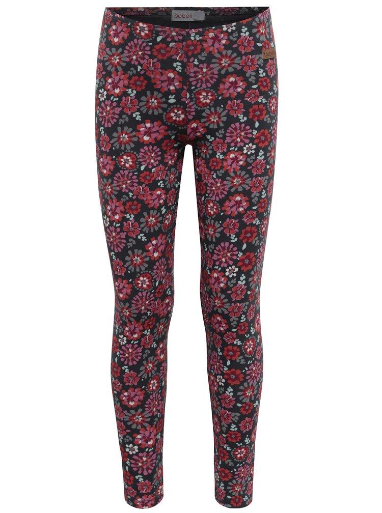 Šedo-růžové holčičí květované legíny BÓBOLI