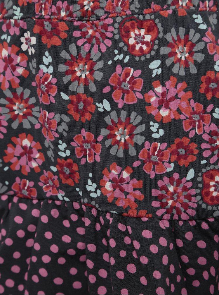 Sivo-ružová dievčenská vzorovaná sukňa s volánmi BÓBOLI