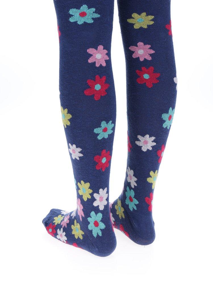Tmavě modré holčičí květované punčocháče BÓBOLI