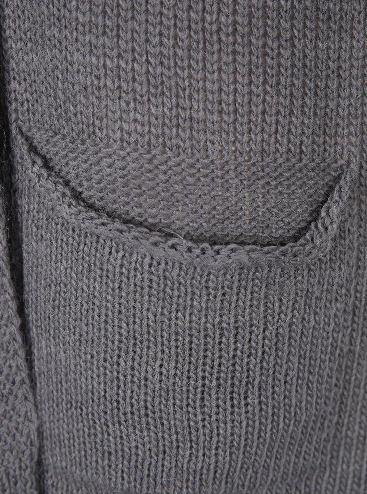 Cardigan gri tricotat cu guler sal Broadway Malena